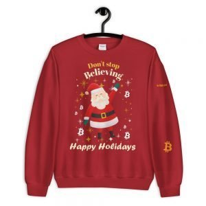 Bitcoin Christmas Sweater – Don't Stop Believing | Customizable Unisex